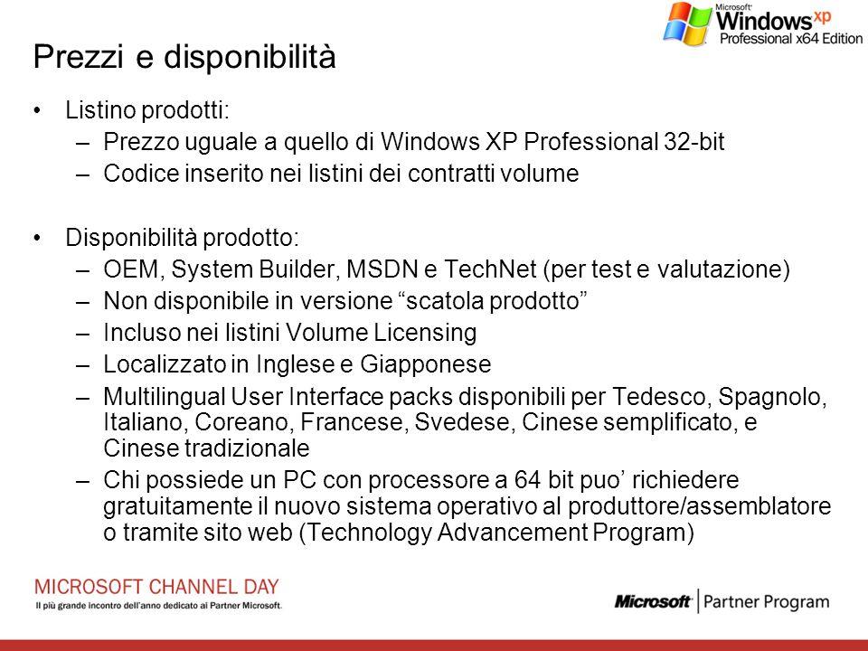 Prezzi e disponibilità Listino prodotti: –Prezzo uguale a quello di Windows XP Professional 32-bit –Codice inserito nei listini dei contratti volume D