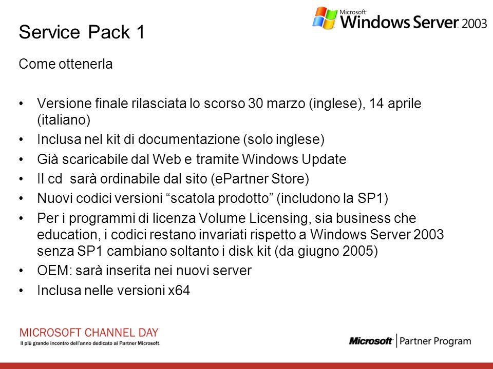 Service Pack 1 Come ottenerla Versione finale rilasciata lo scorso 30 marzo (inglese), 14 aprile (italiano) Inclusa nel kit di documentazione (solo in