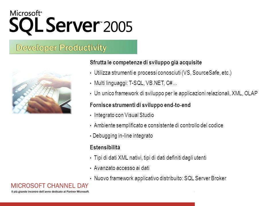 Sfrutta le competenze di sviluppo già acquisite Utilizza strumenti e processi conosciuti (VS, SourceSafe, etc.) Multi linguaggi: T-SQL, VB.NET, C#… Un