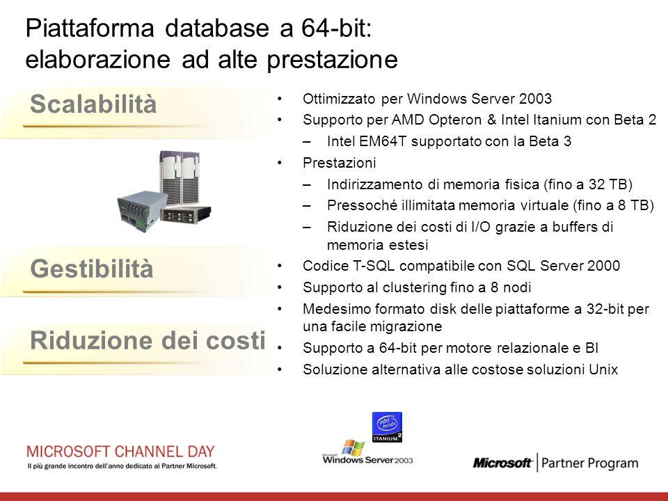 Riduzione dei costiScalabilità Gestibilità Piattaforma database a 64-bit: elaborazione ad alte prestazione Ottimizzato per Windows Server 2003 Support