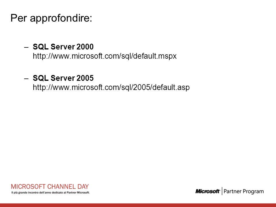 Per approfondire: –SQL Server 2000 http://www.microsoft.com/sql/default.mspx –SQL Server 2005 http://www.microsoft.com/sql/2005/default.asp