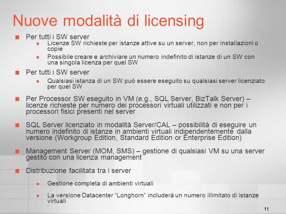 11 Nuove modalità di licensing Per tutti i SW server Licenze SW richieste per istanze attive su un server, non per installazioni o copie Possibile creare e archiviare un numero indefinito di istanze di un SW con una singola licenza per quel SW Per tutti i SW server Qualsiasi istanza di un SW può essere eseguito su qualsiasi server licenziato per quel SW Per Processor SW eseguito in VM (e.g., SQL Server, BizTalk Server) – licenze richieste per numero dei processori virtuali utilizzati e non per i processori fisici presenti nel server SQL Server licenziato in modalità Server/CAL – possibilità di eseguire un numero indefinito di istanze in ambienti virtuali indipendentemente dalla versione (Workgroup Edition, Standard Edition or Enterprise Edition) Management Server (MOM, SMS) – gestione di qualsiasi VM su una server gestito con una licenza management Distribuzione facilitata tra i server Gestione completa di ambienti virtuali La versione Datacenter Longhorn includerà un numero illimitato di istanze virtuali