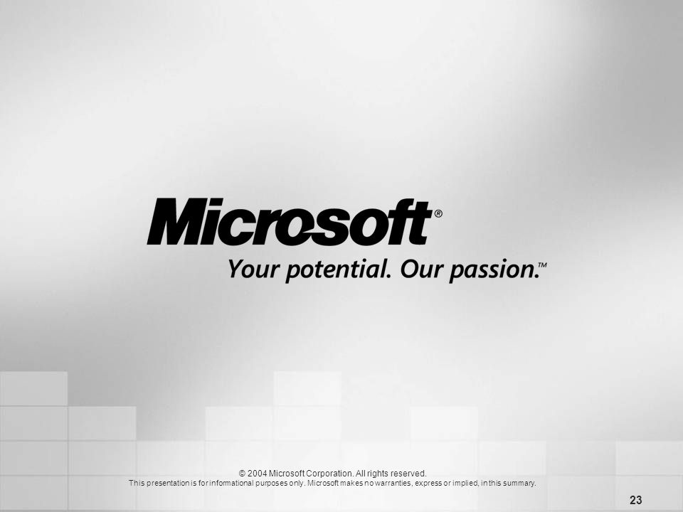 23 © 2004 Microsoft Corporation. All rights reserved.