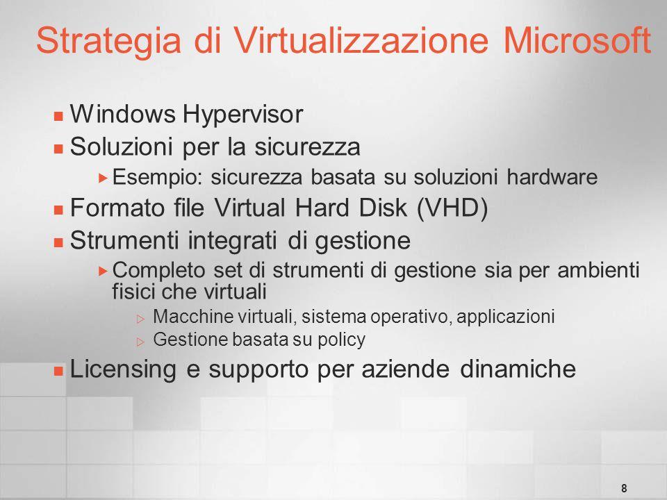 8 Strategia di Virtualizzazione Microsoft Windows Hypervisor Soluzioni per la sicurezza Esempio: sicurezza basata su soluzioni hardware Formato file Virtual Hard Disk (VHD) Strumenti integrati di gestione Completo set di strumenti di gestione sia per ambienti fisici che virtuali Macchine virtuali, sistema operativo, applicazioni Gestione basata su policy Licensing e supporto per aziende dinamiche