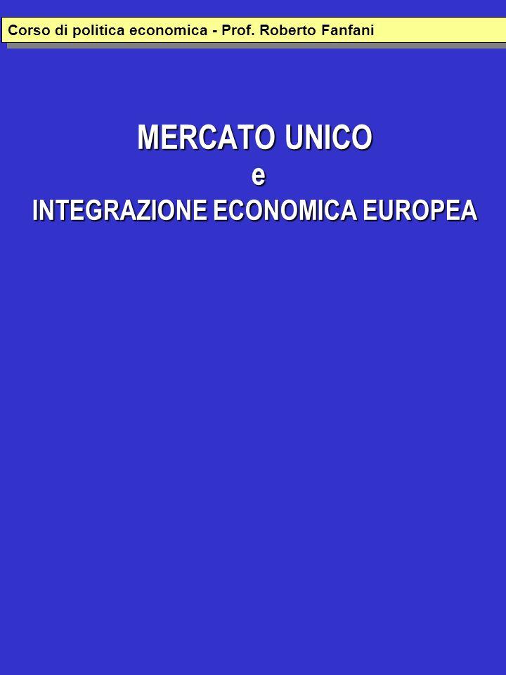 MERCATO UNICO e INTEGRAZIONE ECONOMICA EUROPEA Corso di politica economica - Prof. Roberto Fanfani
