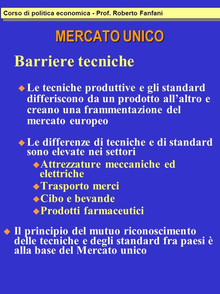 MERCATO UNICO Barriere tecniche u Le tecniche produttive e gli standard differiscono da un prodotto allaltro e creano una frammentazione del mercato e