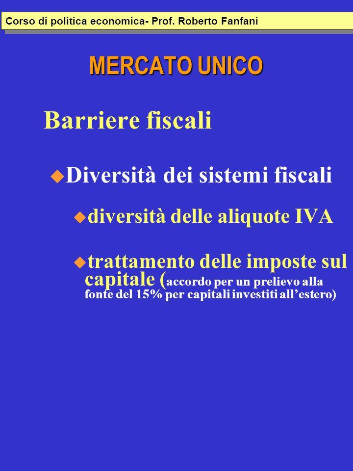 MERCATO UNICO Barriere fiscali u Diversità dei sistemi fiscali diversità delle aliquote IVA trattamento delle imposte sul capitale ( accordo per un pr