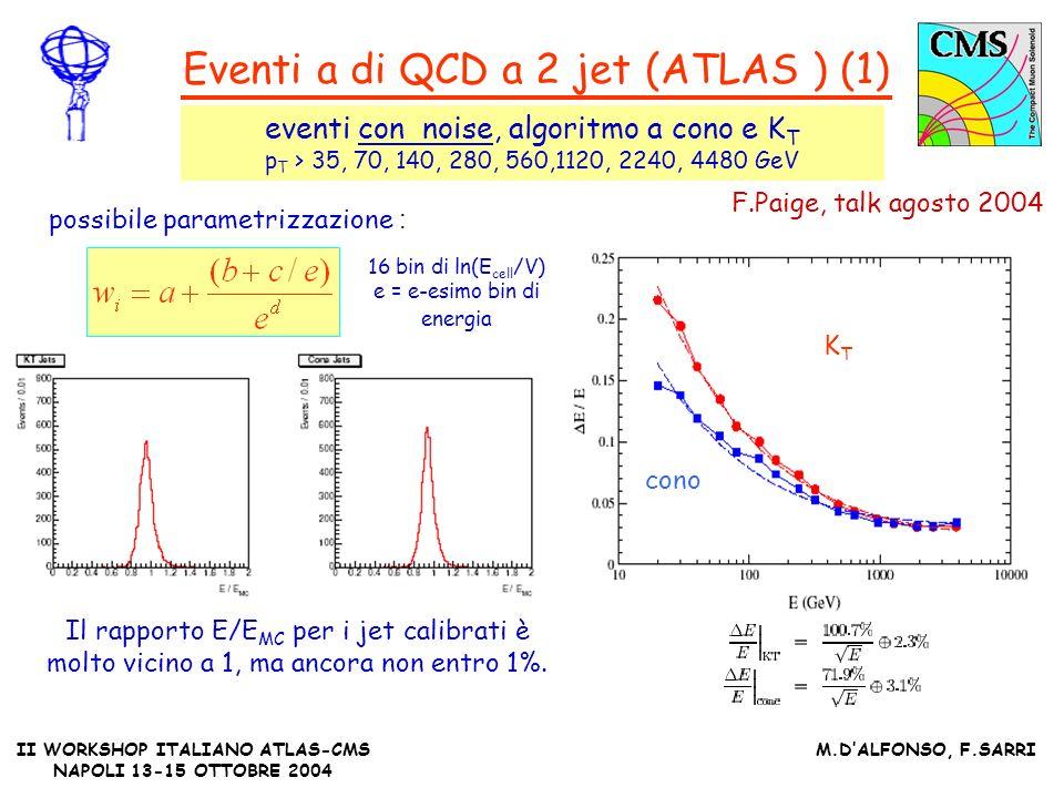 II WORKSHOP ITALIANO ATLAS-CMS NAPOLI 13-15 OTTOBRE 2004 M.DALFONSO, F.SARRI Eventi a di QCD a 2 jet (ATLAS ) (1) eventi con noise, algoritmo a cono e K T p T > 35, 70, 140, 280, 560,1120, 2240, 4480 GeV F.Paige, talk agosto 2004 Il rapporto E/E MC per i jet calibrati è molto vicino a 1, ma ancora non entro 1%.