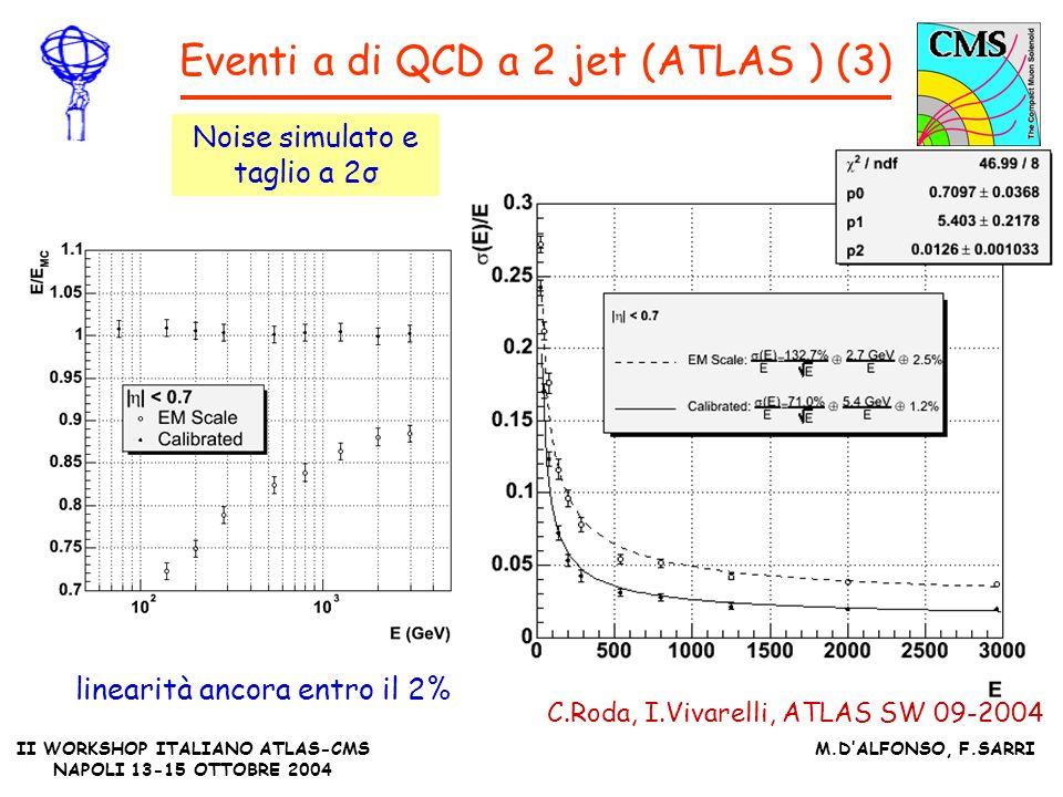 II WORKSHOP ITALIANO ATLAS-CMS NAPOLI 13-15 OTTOBRE 2004 M.DALFONSO, F.SARRI Eventi a di QCD a 2 jet (ATLAS ) (3) C.Roda, I.Vivarelli, ATLAS SW 09-2004 Noise simulato e taglio a 2σ linearità ancora entro il 2%