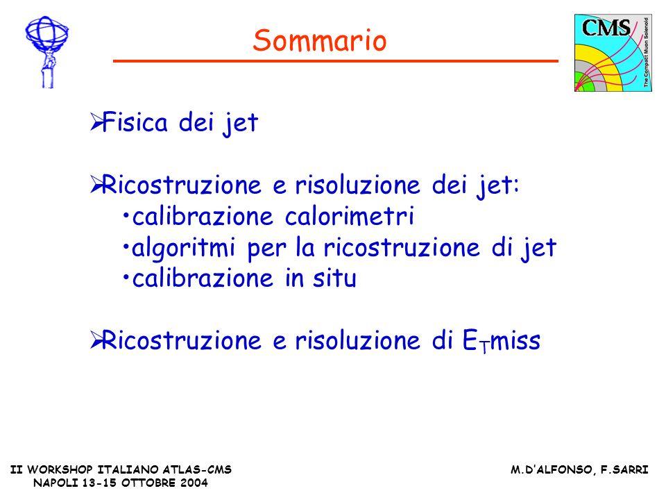 II WORKSHOP ITALIANO ATLAS-CMS NAPOLI 13-15 OTTOBRE 2004 M.DALFONSO, F.SARRI Sommario Fisica dei jet Ricostruzione e risoluzione dei jet: calibrazione calorimetri algoritmi per la ricostruzione di jet calibrazione in situ Ricostruzione e risoluzione di E T miss