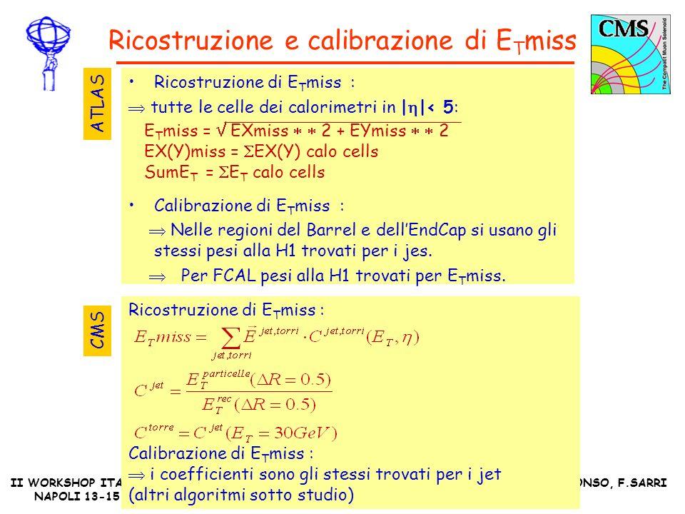 II WORKSHOP ITALIANO ATLAS-CMS NAPOLI 13-15 OTTOBRE 2004 M.DALFONSO, F.SARRI Ricostruzione di E T miss : Calibrazione di E T miss : i coefficienti sono gli stessi trovati per i jet (altri algoritmi sotto studio) Ricostruzione e calibrazione di E T miss Ricostruzione di E T miss : tutte le celle dei calorimetri in | |< 5: Calibrazione di E T miss : Nelle regioni del Barrel e dellEndCap si usano gli stessi pesi alla H1 trovati per i jes.