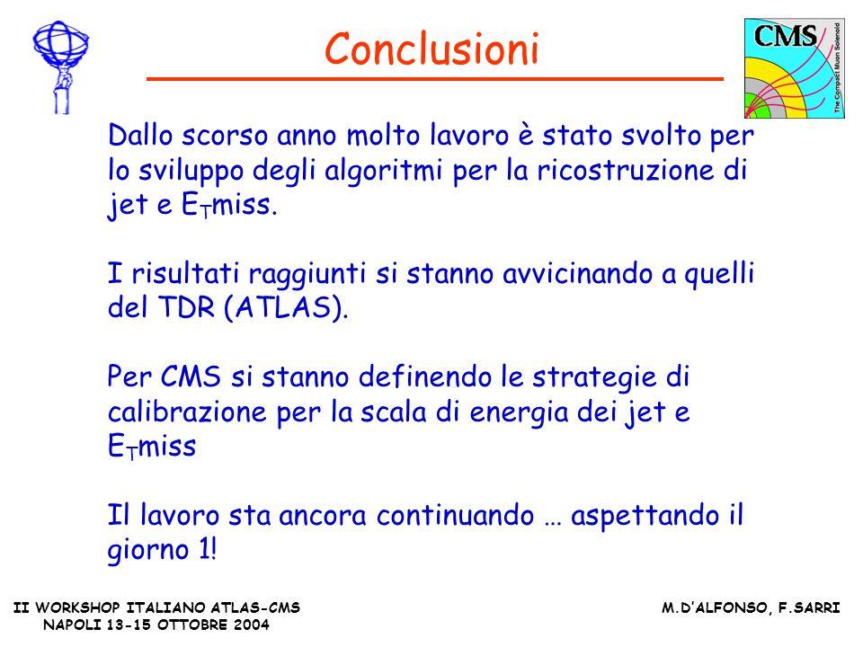 II WORKSHOP ITALIANO ATLAS-CMS NAPOLI 13-15 OTTOBRE 2004 M.DALFONSO, F.SARRI Conclusioni Dallo scorso anno molto lavoro è stato svolto per lo sviluppo degli algoritmi per la ricostruzione di jet e E T miss.