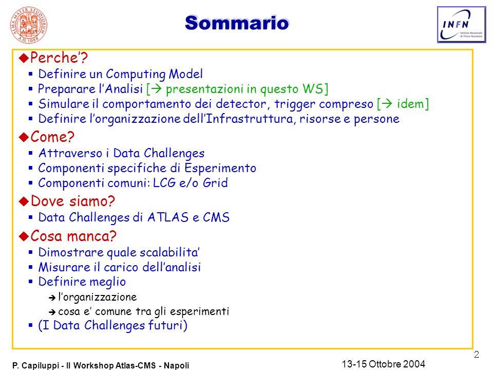 2 P. Capiluppi - II Workshop Atlas-CMS - Napoli 13-15 Ottobre 2004 Sommario u Perche? Definire un Computing Model Preparare lAnalisi [ presentazioni i