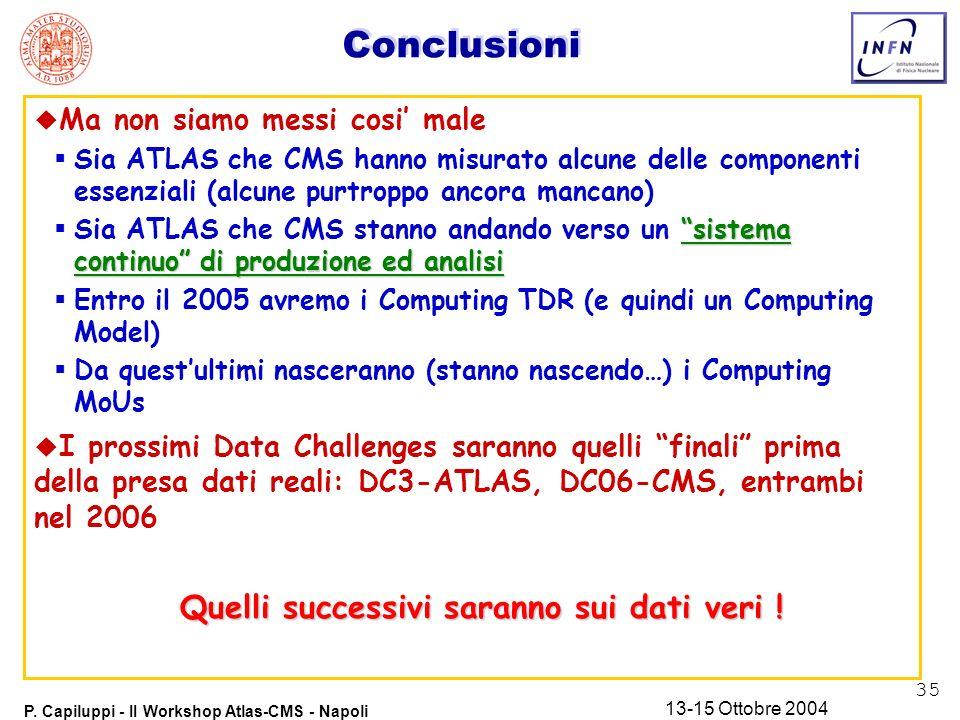 35 P. Capiluppi - II Workshop Atlas-CMS - Napoli 13-15 Ottobre 2004 Conclusioni u Ma non siamo messi cosi male Sia ATLAS che CMS hanno misurato alcune