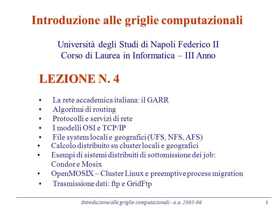 Introduzione alle griglie computazionali - a.a. 2005-061 Introduzione alle griglie computazionali Università degli Studi di Napoli Federico II Corso d