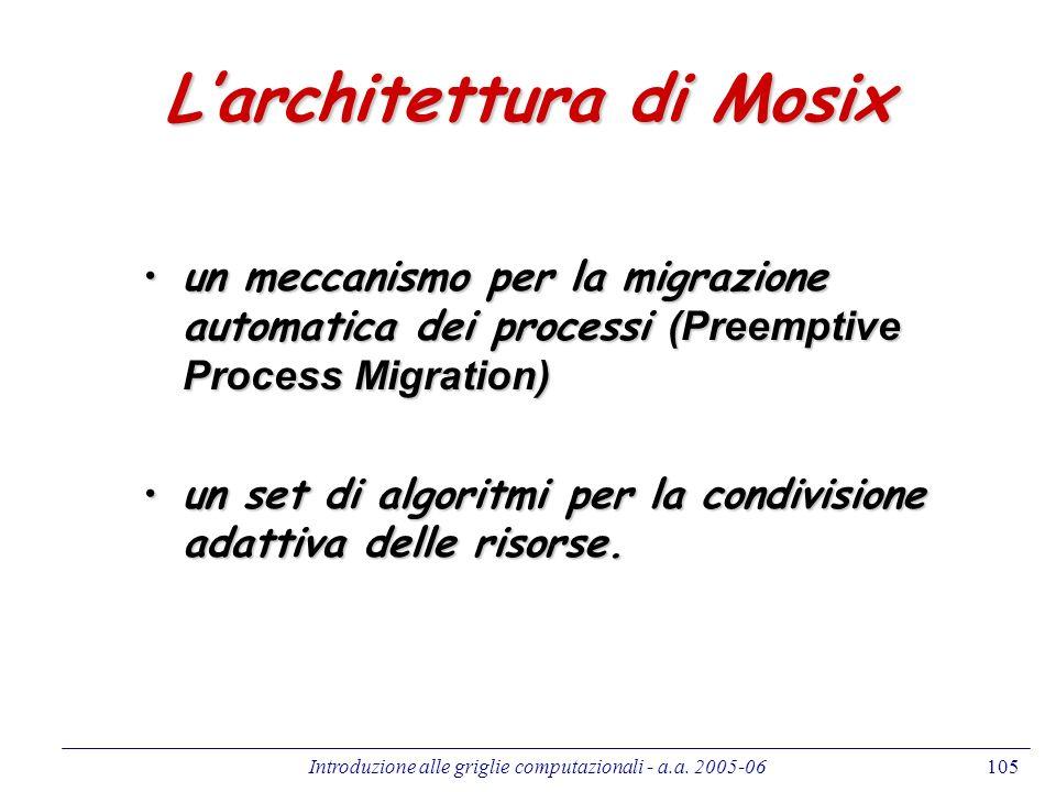 Introduzione alle griglie computazionali - a.a. 2005-06105 Larchitettura di Mosix un meccanismo per la migrazione automatica dei processi (Preemptive