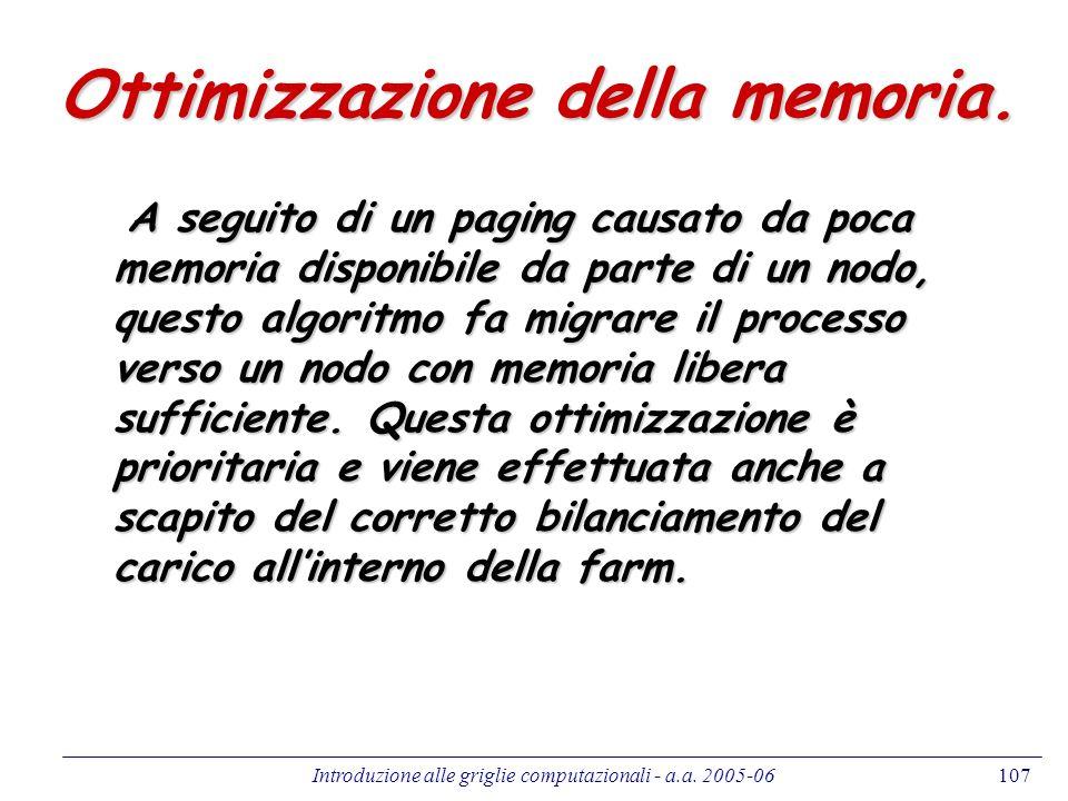 Introduzione alle griglie computazionali - a.a. 2005-06107 Ottimizzazione della memoria. A seguito di un paging causato da poca memoria disponibile da