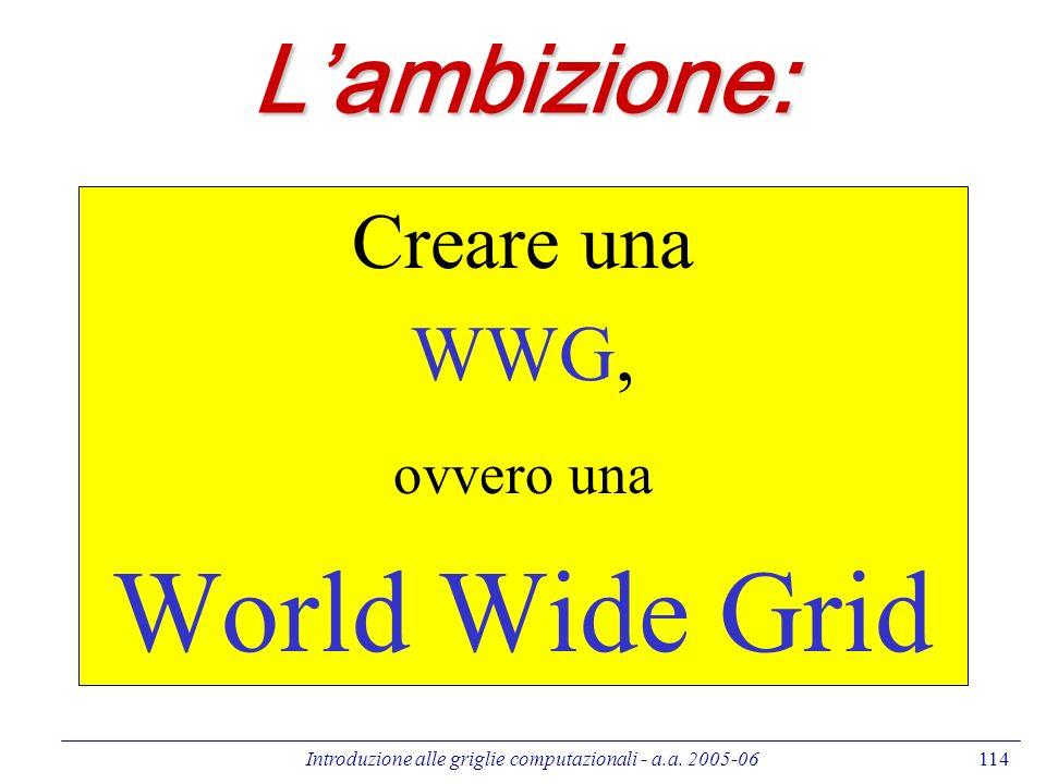 Introduzione alle griglie computazionali - a.a. 2005-06114 Lambizione: Creare una WWG, ovvero una World Wide Grid