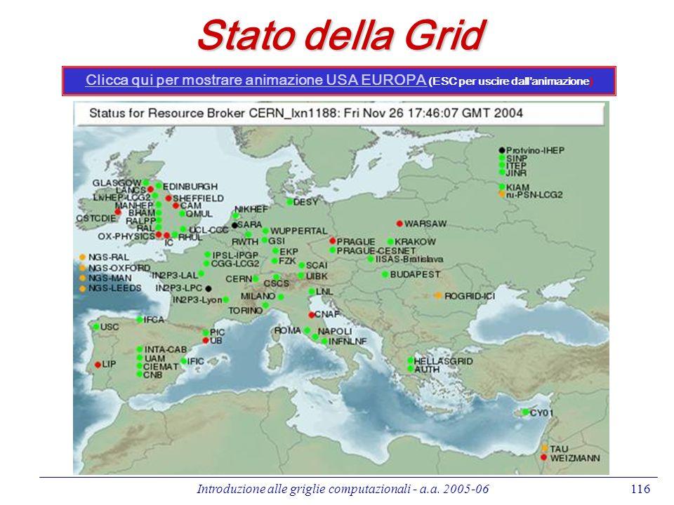 Introduzione alle griglie computazionali - a.a. 2005-06116 Stato della Grid Clicca qui per mostrare animazione USA EUROPA Clicca qui per mostrare anim
