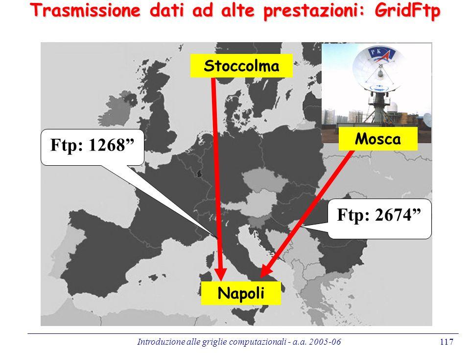 Introduzione alle griglie computazionali - a.a. 2005-06117 Ftp: 1268 Ftp: 2674 Stoccolma Napoli Mosca Trasmissione dati ad alte prestazioni: GridFtp