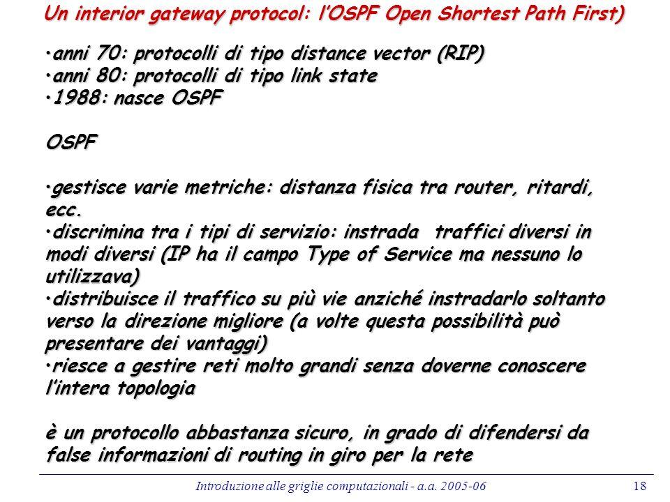 Introduzione alle griglie computazionali - a.a. 2005-0618 Un interior gateway protocol: lOSPF Open Shortest Path First) anni 70: protocolli di tipo di