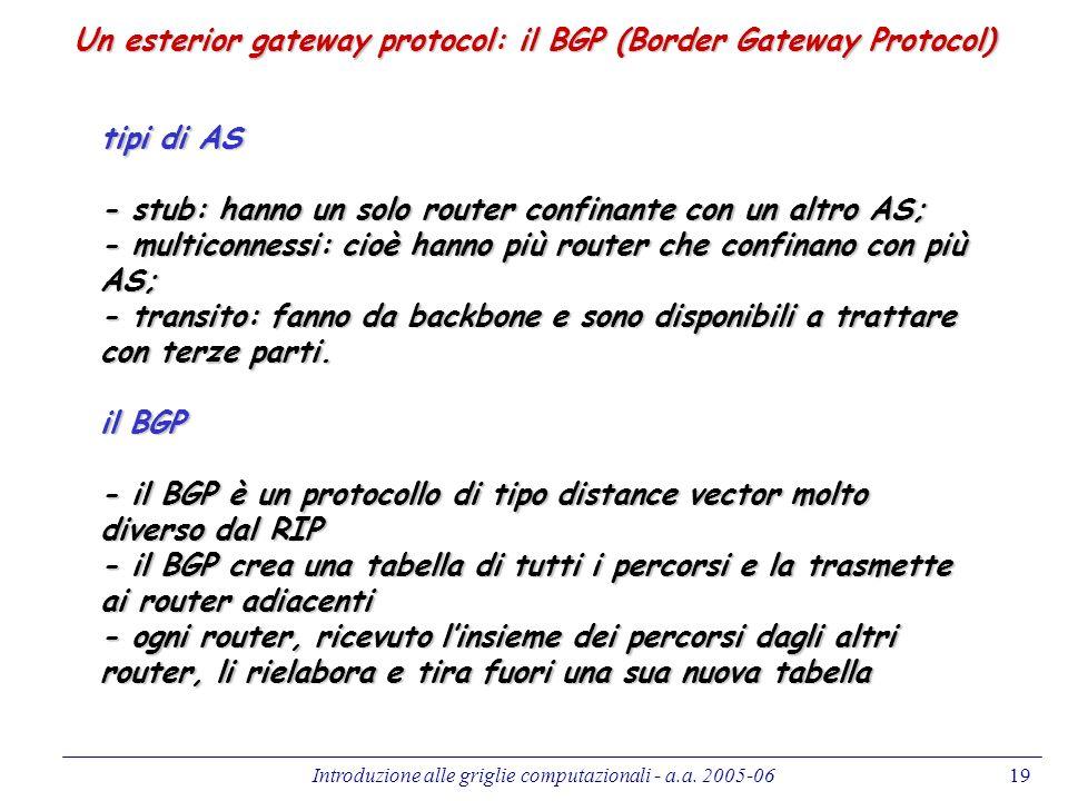 Introduzione alle griglie computazionali - a.a. 2005-0619 Un esterior gateway protocol: il BGP (Border Gateway Protocol) tipi di AS - stub: hanno un s