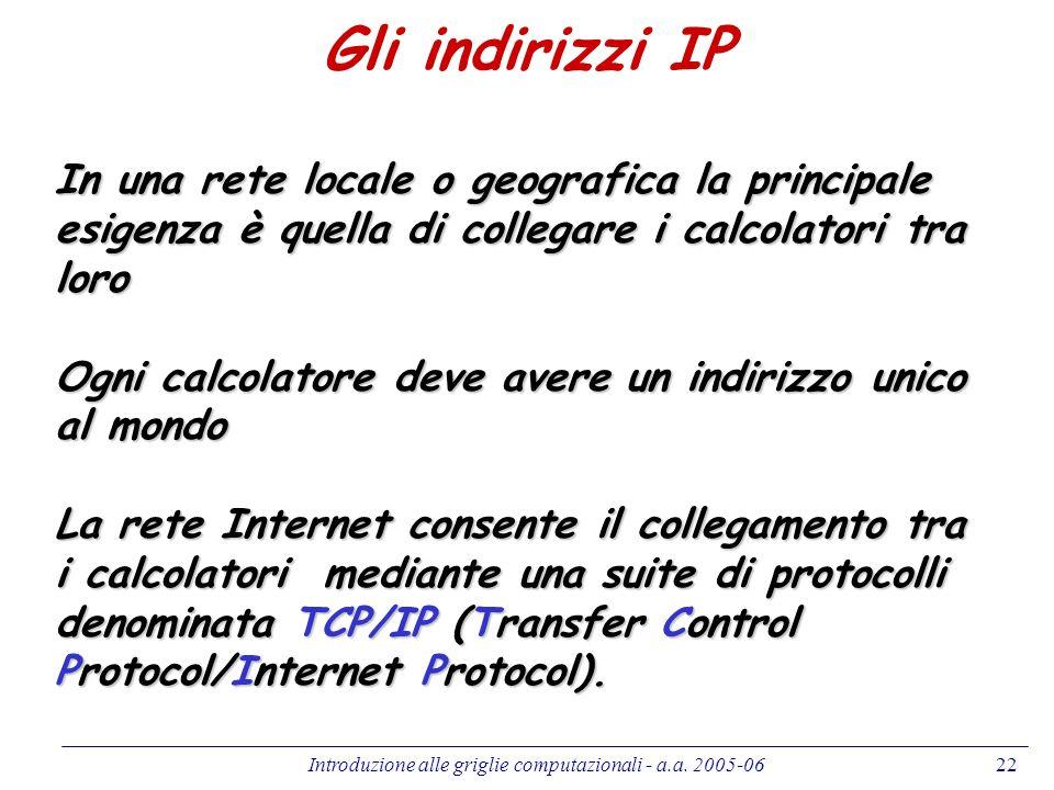 Introduzione alle griglie computazionali - a.a. 2005-0622 Gli indirizzi IP In una rete locale o geografica la principale esigenza è quella di collegar