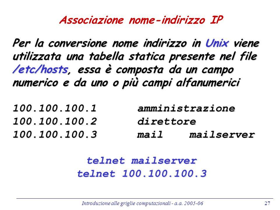 Introduzione alle griglie computazionali - a.a. 2005-0627 Associazione nome-indirizzo IP Per la conversione nome indirizzo in Unix viene utilizzata un