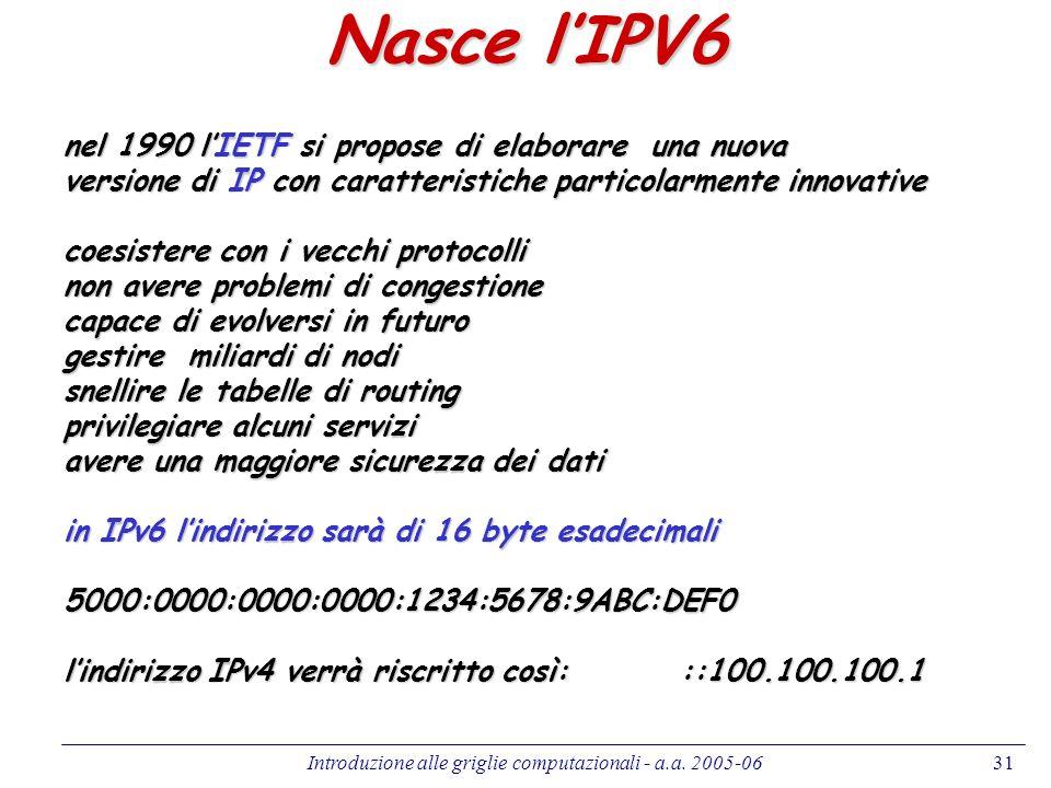 Introduzione alle griglie computazionali - a.a. 2005-0631 Nasce lIPV6 nel 1990 lIETF si propose di elaborare una nuova versione di IP con caratteristi