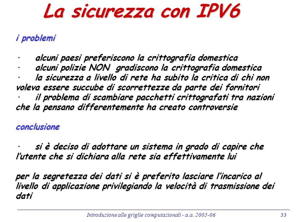Introduzione alle griglie computazionali - a.a. 2005-0633 La sicurezza con IPV6 i problemi · alcuni paesi preferiscono la crittografia domestica · alc