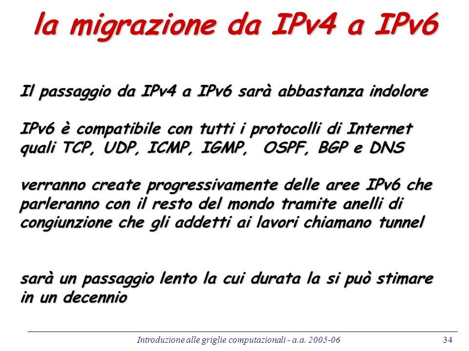 Introduzione alle griglie computazionali - a.a. 2005-0634 la migrazione da IPv4 a IPv6 Il passaggio da IPv4 a IPv6 sarà abbastanza indolore IPv6 è com