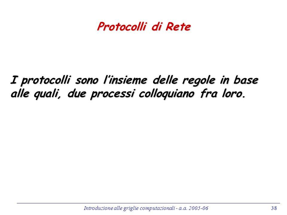 Introduzione alle griglie computazionali - a.a. 2005-0638 Protocolli di Rete I protocolli sono linsieme delle regole in base alle quali, due processi