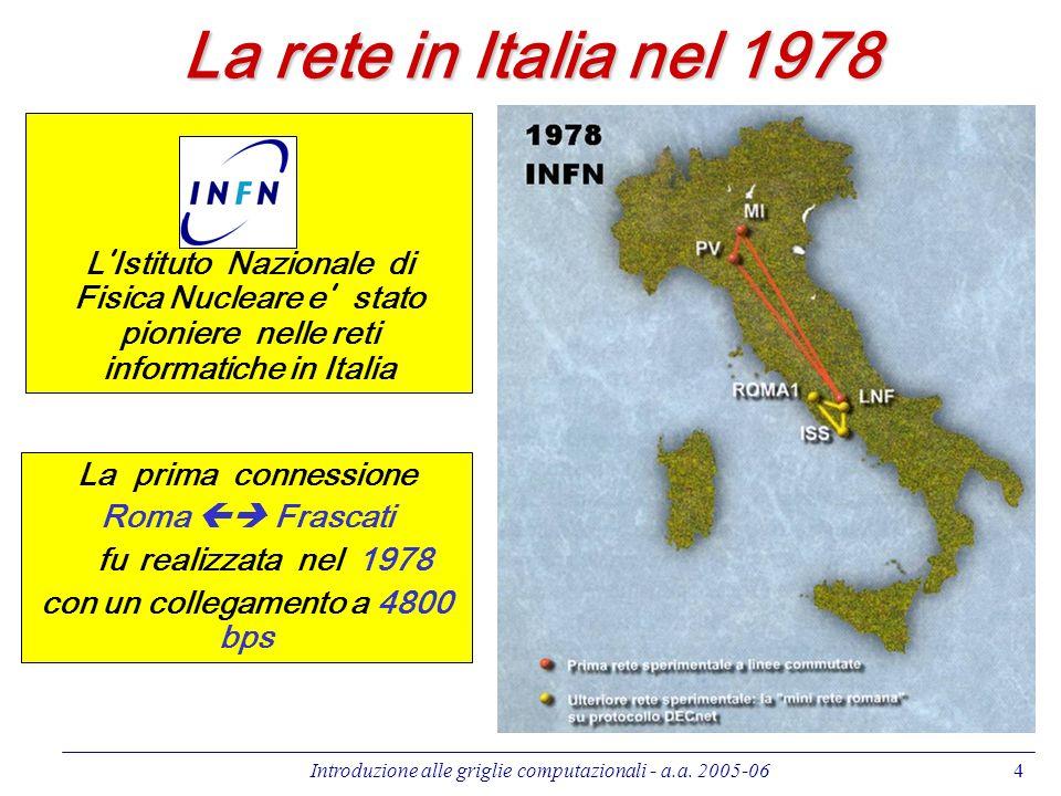Introduzione alle griglie computazionali - a.a. 2005-064 La rete in Italia nel 1978 La prima connessione Roma Frascati fu realizzata nel 1978 con un c