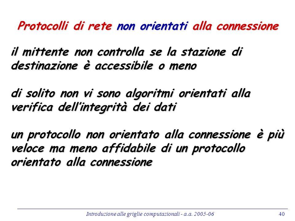 Introduzione alle griglie computazionali - a.a. 2005-0640 Protocolli di rete non orientati alla connessione il mittente non controlla se la stazione d