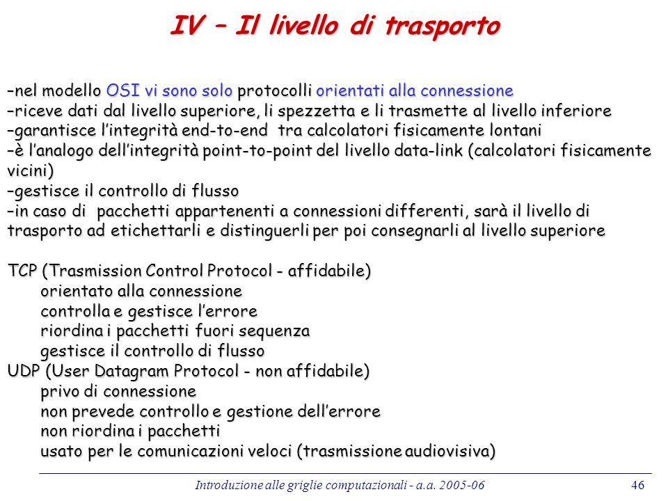 Introduzione alle griglie computazionali - a.a. 2005-0646 IV – Il livello di trasporto –nel modello OSI vi sono solo protocolli orientati alla conness