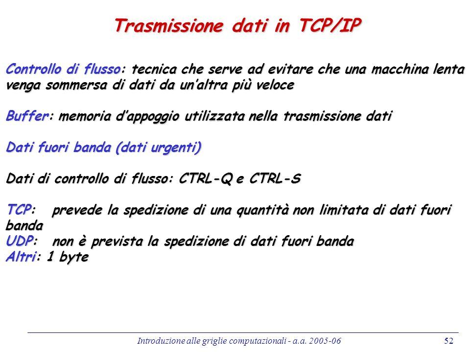 Introduzione alle griglie computazionali - a.a. 2005-0652 Trasmissione dati in TCP/IP Controllo di flusso: tecnica che serve ad evitare che una macchi