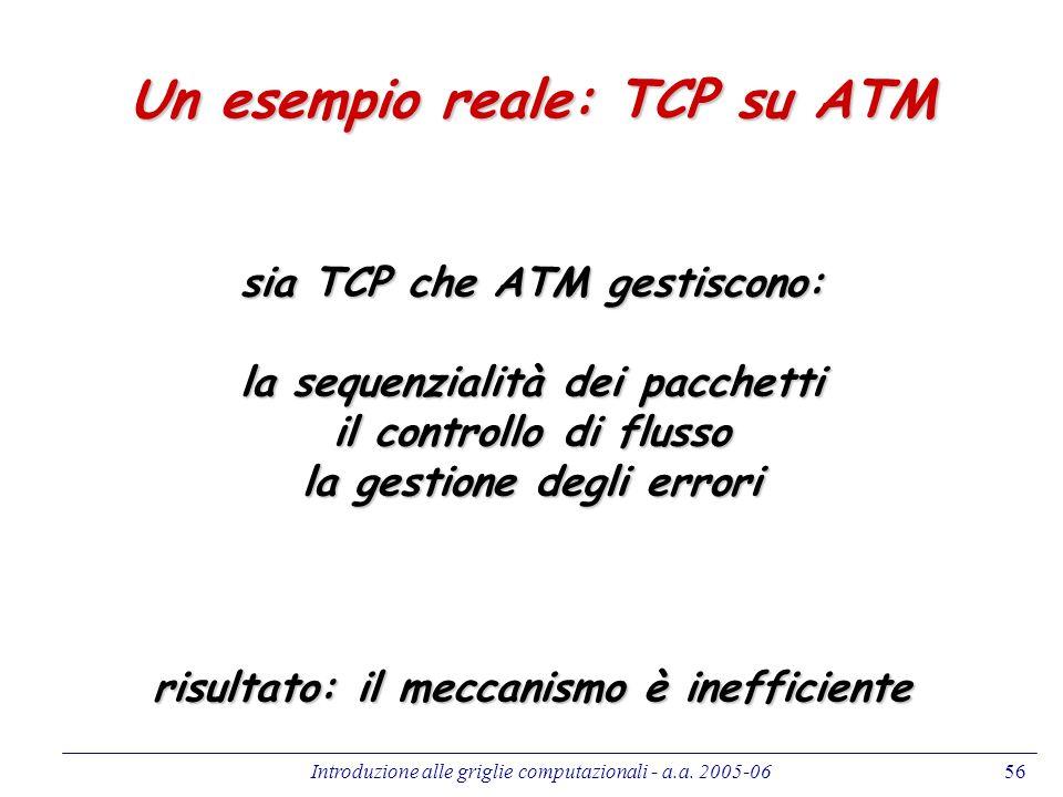Introduzione alle griglie computazionali - a.a. 2005-0656 Un esempio reale: TCP su ATM sia TCP che ATM gestiscono: la sequenzialità dei pacchetti il c