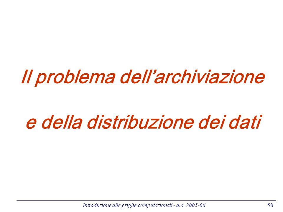 Introduzione alle griglie computazionali - a.a. 2005-0658 Il problema dellarchiviazione e della distribuzione dei dati