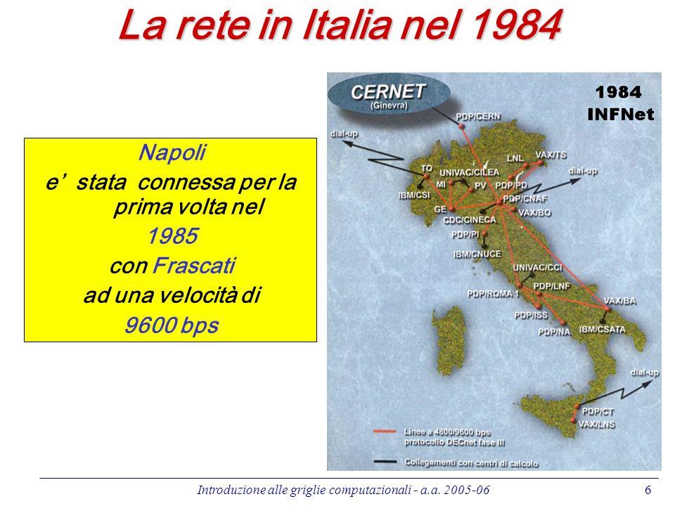 Introduzione alle griglie computazionali - a.a. 2005-066 Napoli e stata connessa per la prima volta nel 1985 con Frascati ad una velocità di 9600 bps