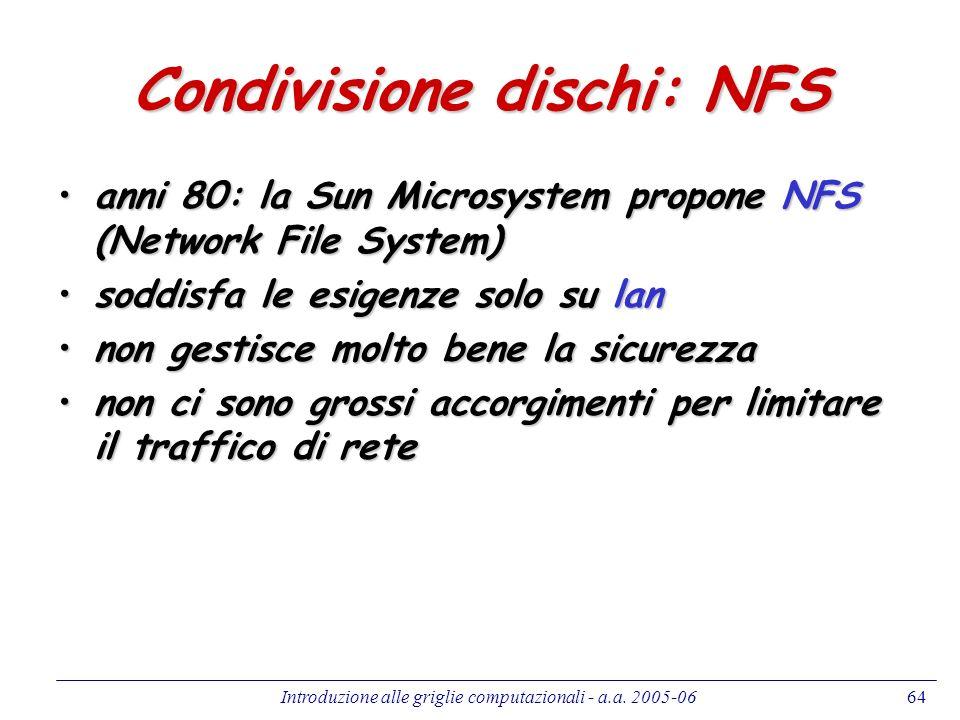 Introduzione alle griglie computazionali - a.a. 2005-0664 Condivisione dischi: NFS anni 80: la Sun Microsystem propone NFS (Network File System)anni 8