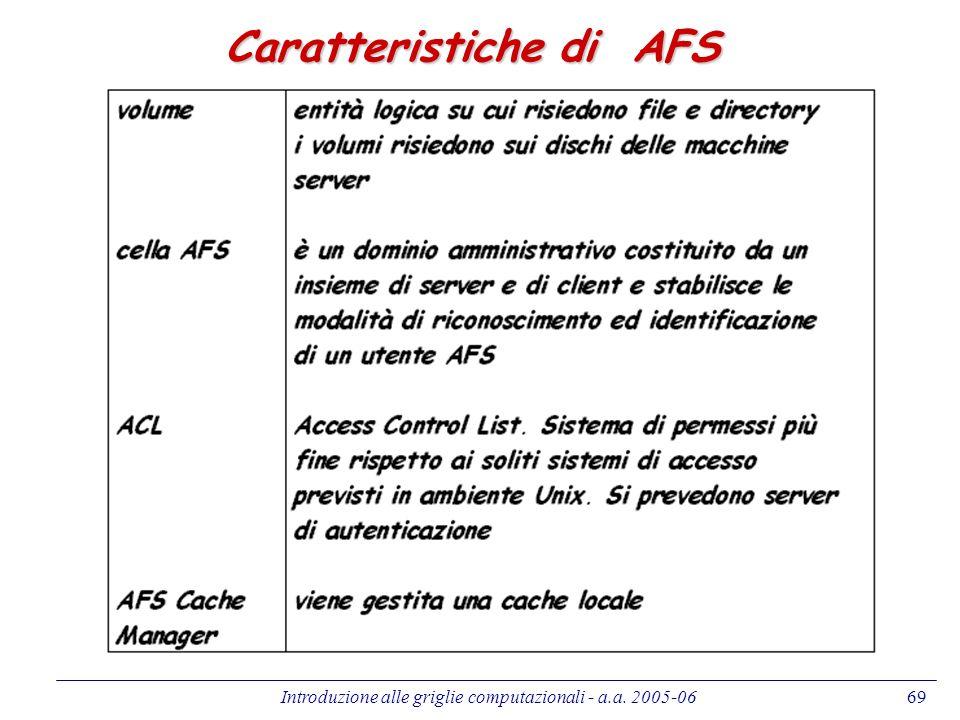 Introduzione alle griglie computazionali - a.a. 2005-0669 Caratteristiche di AFS