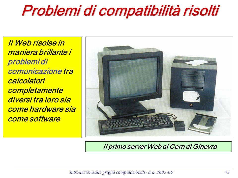 Introduzione alle griglie computazionali - a.a. 2005-0673 Problemi di compatibilità risolti Il Web risolse in maniera brillante i problemi di comunica