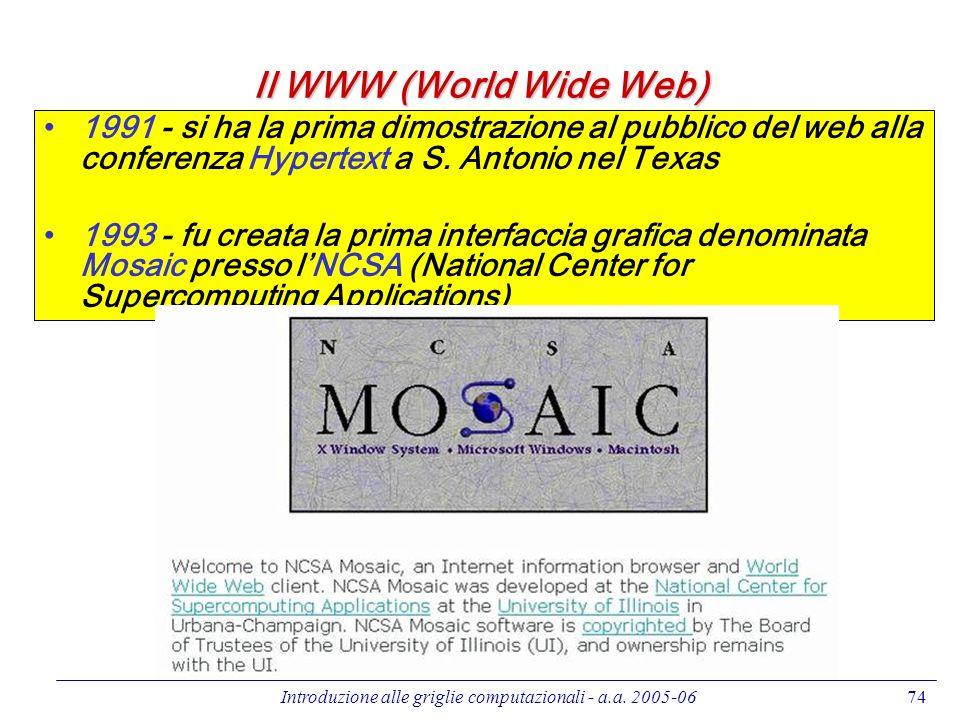 Introduzione alle griglie computazionali - a.a. 2005-0674 Il WWW (World Wide Web) 1991 - si ha la prima dimostrazione al pubblico del web alla confere