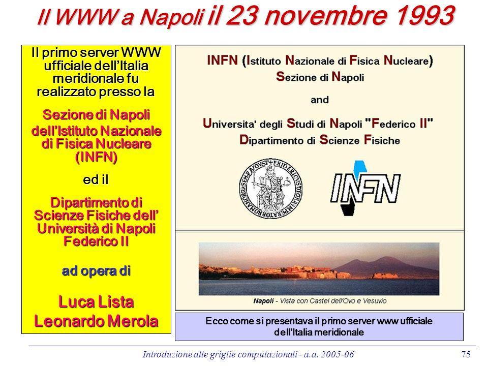 Introduzione alle griglie computazionali - a.a. 2005-0675 Il WWW a Napoli il 23 novembre 1993 Il primo server WWW ufficiale dellItalia meridionale fu