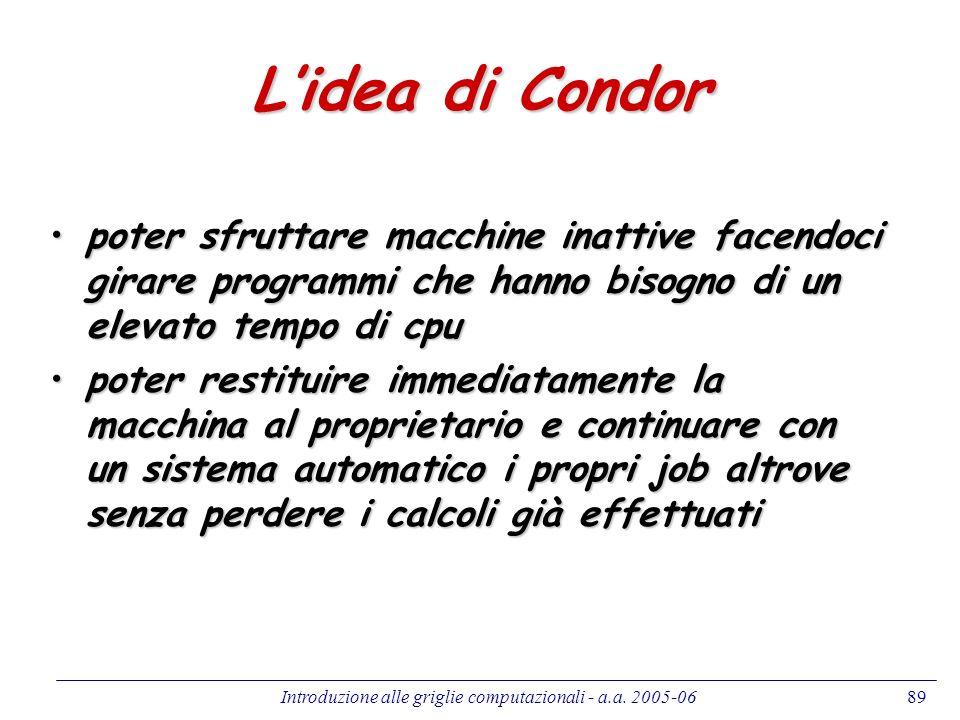 Introduzione alle griglie computazionali - a.a. 2005-0689 Lidea di Condor poter sfruttare macchine inattive facendoci girare programmi che hanno bisog