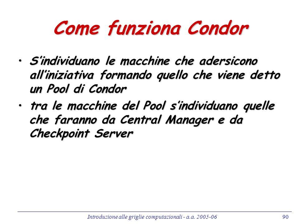Introduzione alle griglie computazionali - a.a. 2005-0690 Come funziona Condor Sindividuano le macchine che adersicono alliniziativa formando quello c