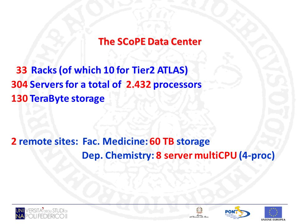 The SCoPE Data Center 33 Racks (of which 10 for Tier2 ATLAS) 304 Servers for a total of 2.432 processors 130 TeraByte storage 2 remote sites: Fac. Med