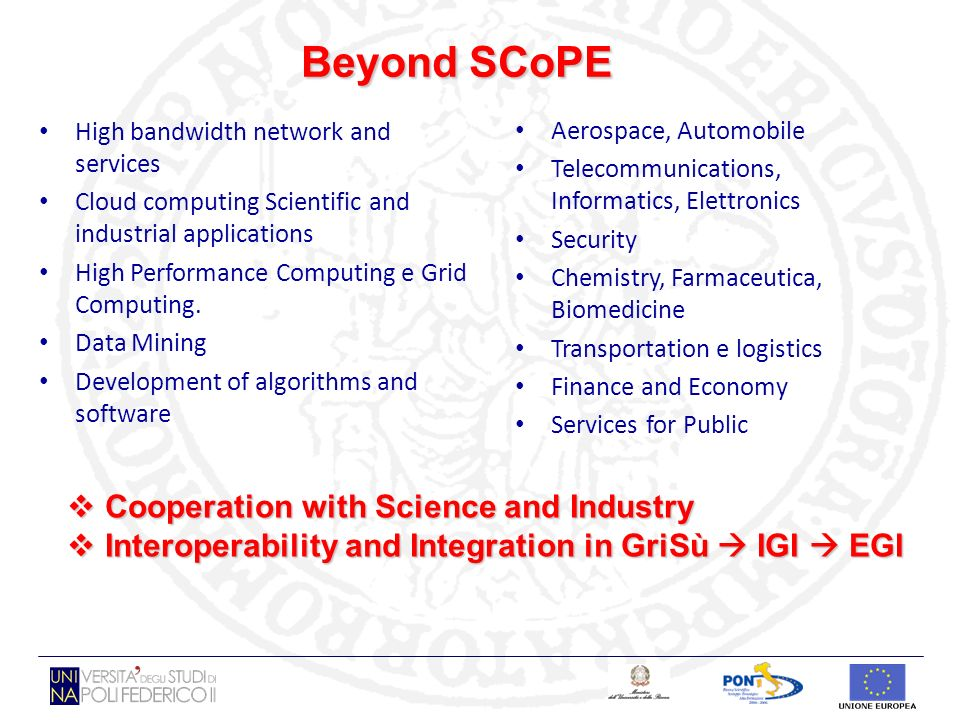 Beyond SCoPE High bandwidth network and services Cloud computing Scientific and industrial applications High Performance Computing e Grid Computing. D