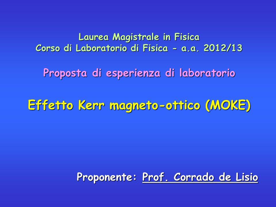 Laurea Magistrale in Fisica Corso di Laboratorio di Fisica - a.a. 2012/13 Proposta di esperienza di laboratorio Effetto Kerr magneto-ottico (MOKE) Pro