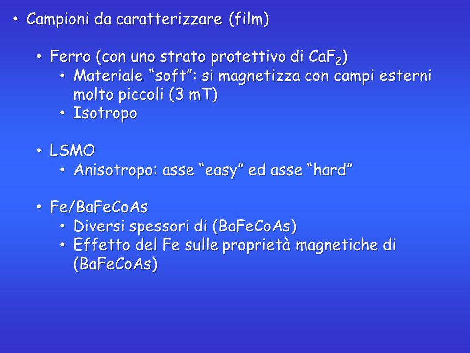 Campioni da caratterizzare (film) Campioni da caratterizzare (film) Ferro (con uno strato protettivo di CaF 2 ) Ferro (con uno strato protettivo di CaF 2 ) Materiale soft: si magnetizza con campi esterni molto piccoli (3 mT) Materiale soft: si magnetizza con campi esterni molto piccoli (3 mT) Isotropo Isotropo LSMO LSMO Anisotropo: asse easy ed asse hard Anisotropo: asse easy ed asse hard Fe/BaFeCoAs Fe/BaFeCoAs Diversi spessori di (BaFeCoAs) Diversi spessori di (BaFeCoAs) Effetto del Fe sulle proprietà magnetiche di (BaFeCoAs) Effetto del Fe sulle proprietà magnetiche di (BaFeCoAs)